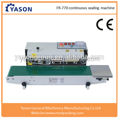 Plastic Bags/Film Sealing Machine , Horizontal Type Continuous Band Sealer With Date Printer