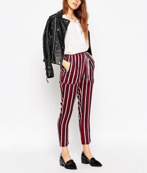 Red strip high fashion ladies fashion jean trousers design