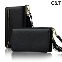 C&T Black Zipper Purse Leather Holster Wallet Clutch Wristlet Case for Apple iPhone 7