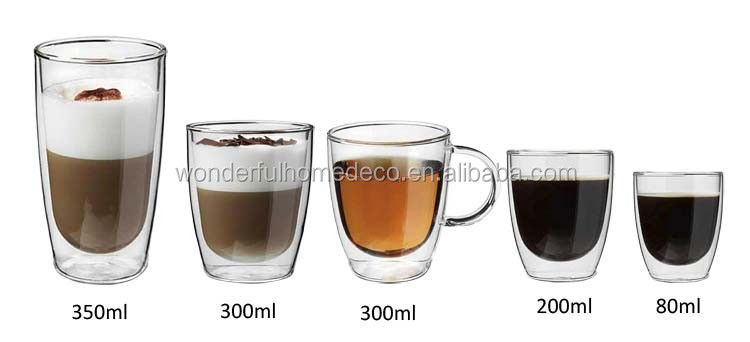 3oz-12oz Hand Blown Double Walled Glass Cup,Double Wall Glass Thermos Cup,Glass Coffee Cups