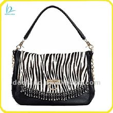 Latest ladies design zebra pattern 2012 fall cow hair bag