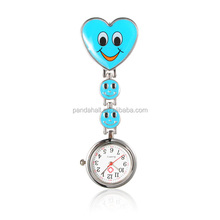 PandaHall Alloy Heart Nurse Table Pocket Watches with Alloy Enamel Watch Band and Iron Clips DeepSkyBlue(WACH-N007-02C)