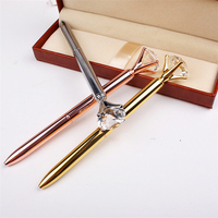 Promotional ballpen with customized logo 3d oil metal crystal pen of diamond in the top side