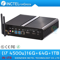 World's Smallest Base Mini PC fanless with haswell Intel Core i7 4500U 1.8Ghz USB3.0 DP 16G RAM 64G SSD 1TB HDD