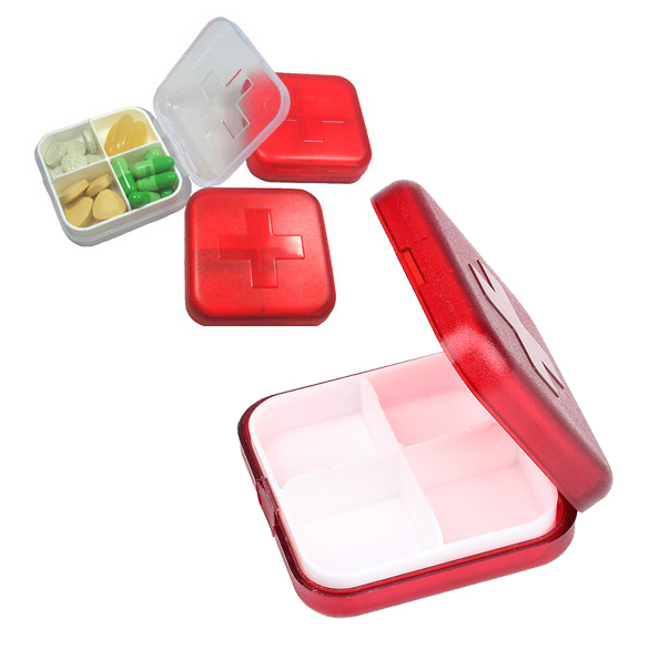 New 4 Slot Health Medicine Pill Case Cover Portable Organizer Box Container Storage