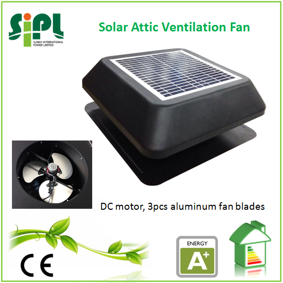 SUNNY FAN HVAC system patent turbo wind guide solar panel powered dc electric heat extraction fan outdoor roof stand exhaust fan
