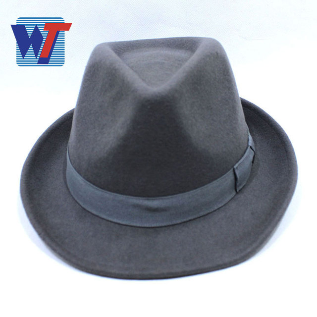 Black felt flat top fedora hat flat wide brim fedora felt hat