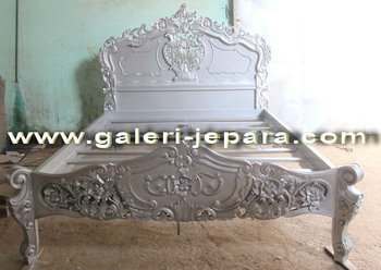 French White Reproduction Furniture Indonesia - American English Rococo Bed