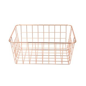 549-97A ins wrought iron rose gold desktop metal wire storage organizer bin basket