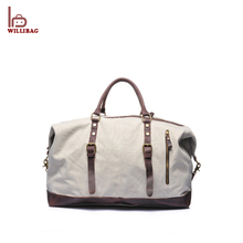9d75859f9454 Durable Men Canvas Luggage Bag Leather Travel Duffle Bag