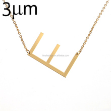 Customized Large Initial Necklace Oversized Letter Alphabet Personalized Sideway Initial Blackish Kolye Collier
