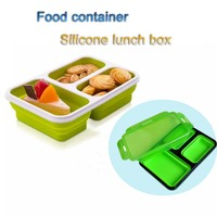 3 compartment food containers collapsible silicone lunch box for kids