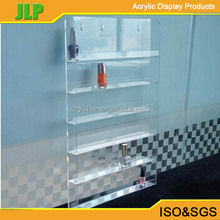 wholesale 6 tiers clear wall mounted acrylic nail polish display stand/cosmetics dispaly rack