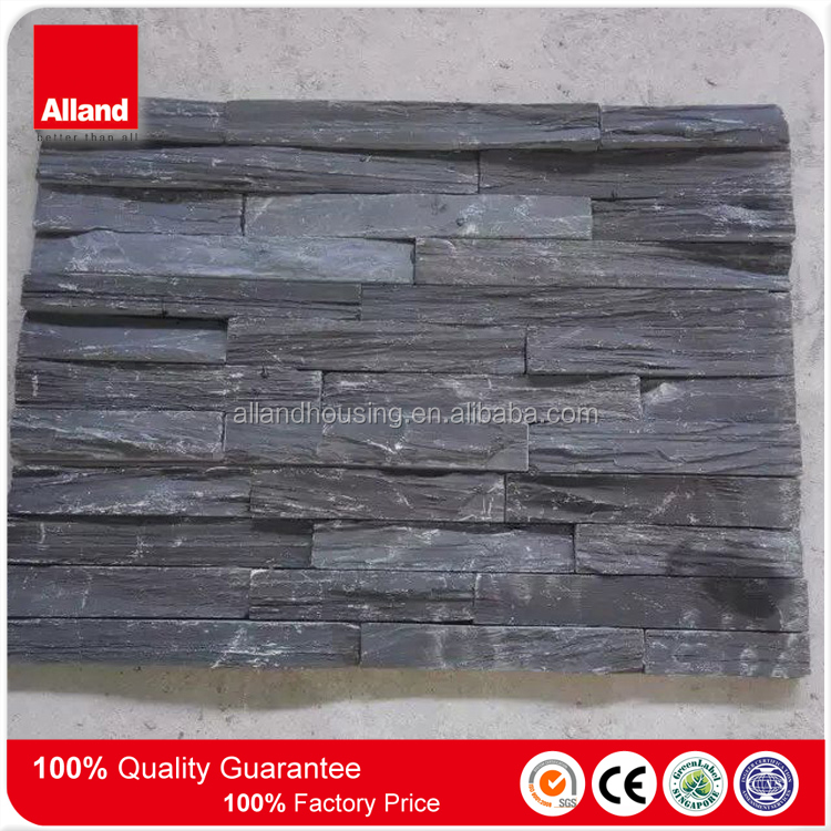 house cladding black slate rectangle stacked rock rough finish