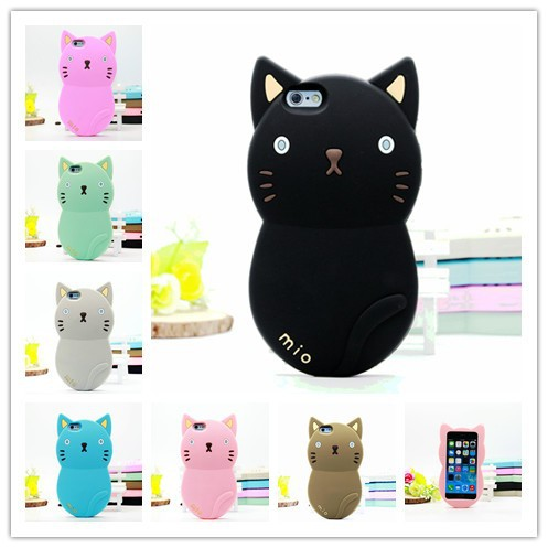 Lovely Cute soft Silicone 3D Cartoon animal Cat Case for iPhone 5 5s iphone5,50pcs/lot