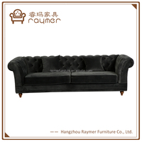 Black Velvet Button Tufted Feather Down Chesterfield Sofa