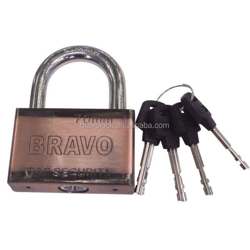 Two Color Plated Iron Padlock with Vane key