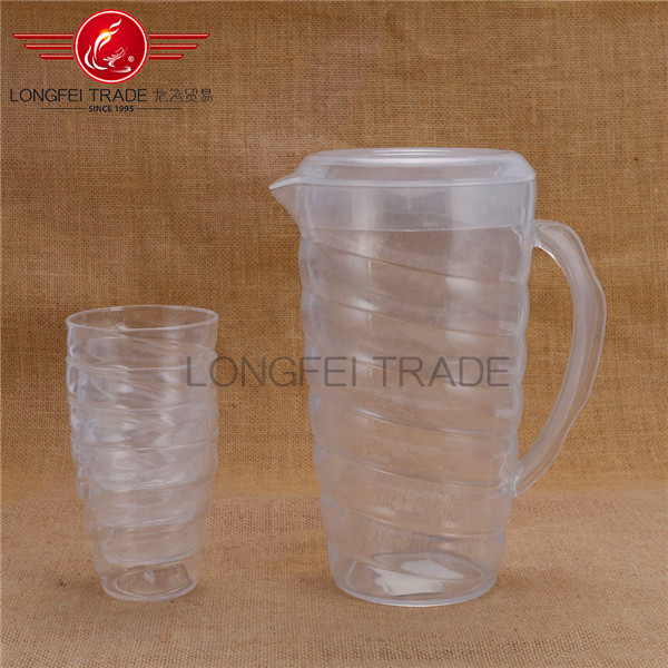 Cheap plastic / acrylic water kettle / PS material water jug for sale with cups