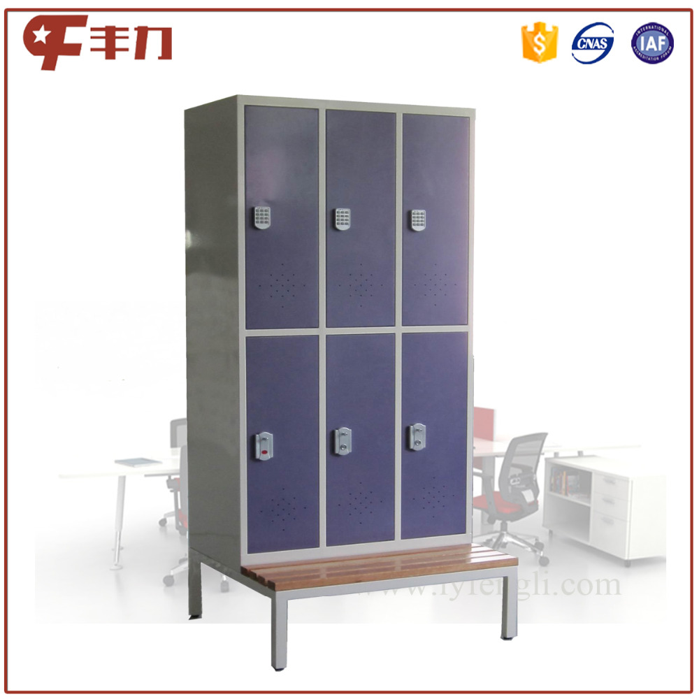 Knock down purple color beach locker /locker with bench image