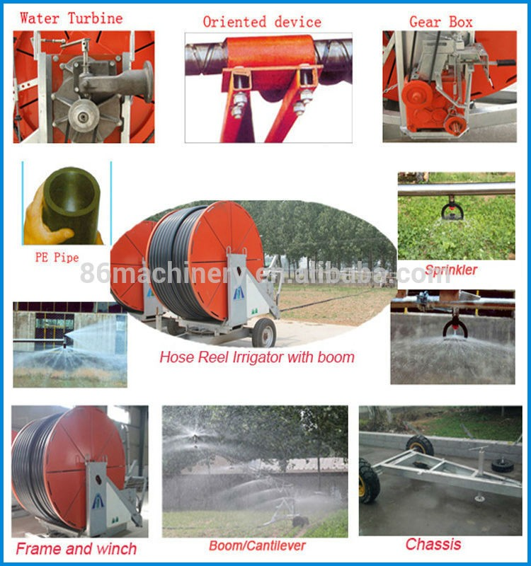 Energy saving water turbine hose reel boom irrigation machine