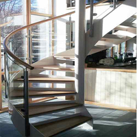 Customized hard wood staircase narrow spiral stairs