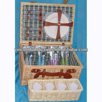 Handmade wicker picnic basket for four people