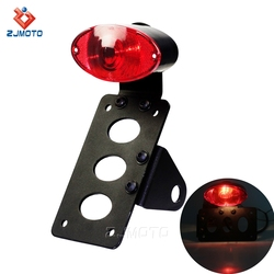 Red lense custom motorcycle universal led bracket vintage tail light 12v for Harley chopper
