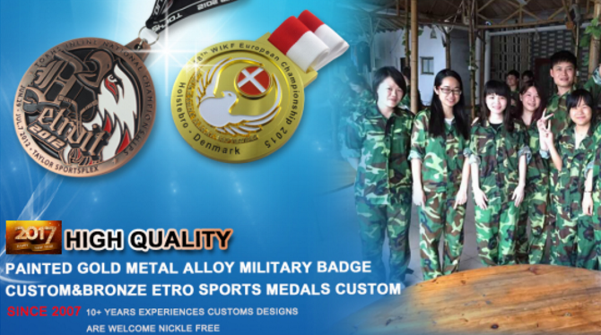 custom 3D military medal with printed ribbons