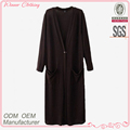 Latest Design Casual Fashion long sleeve v neck open front loose fit maxi dress muslimah