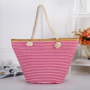 DEMITSM019 Wholesale New Fashion New Style Striped Tote Bag Pink Blue Canvas Stripe Beach Bag Large Capacity Shoulder Bag