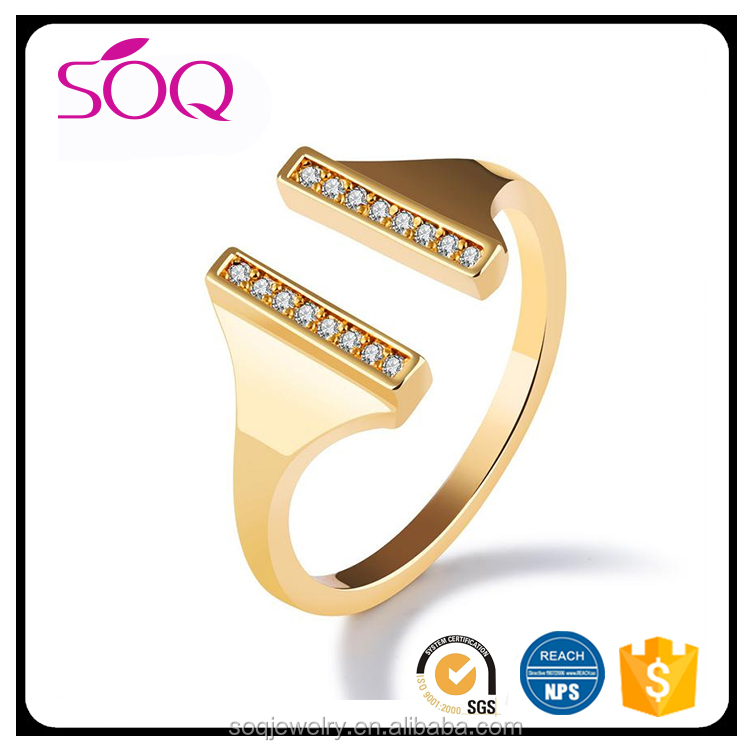 Trendy Open Ended Adjustable Gold Double Two Thin Micro Pave Bar Ring Tiny Ring for Wedding Bride Women