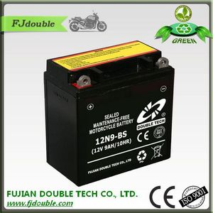 Sealed Maintenance Free Type 12v 9ah 12N9-BS motorcycle battery with CE,ISO certification