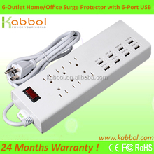 Home and Office Surge Protector 6-Outlet Individual Switches Power Strip with 8 USB Charging Ports for Smartphone for HTC One M9