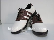 top quality white with brown strap golf shoe for men
