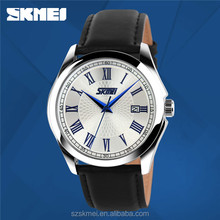 3 atm quartz stainless steel back mens business genuine leather watch