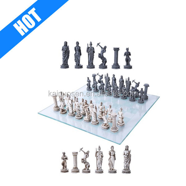 Customized Hand Painted Amy Themed Chess With Glass Board Set