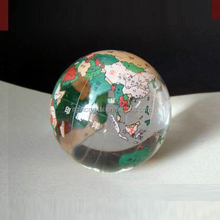 Clear K9 Crystal Globe Ball Paperweight With Colour For New Year Crystal Gift