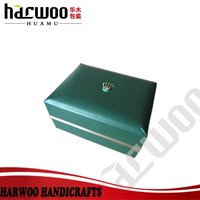 custom famous brand watch box,luxury pu leather watch case,cube green color watch box