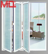 Aluminum folding double glass door with venetian blinds