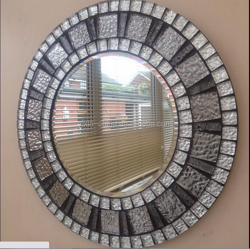 Round Mosaic Wall Decor : Handmade wall bathroom round shape mosaic glass mirror for