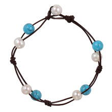 Fashion leather bracelet factory price wholesale women Pearl turquoise bracelet