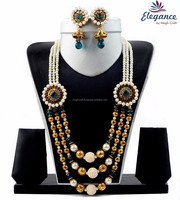 Indian traditional pearl jewelry - Wholesale pearl beaded jewellery set - Bollywood jewelry set - Designe ethnic jewelry