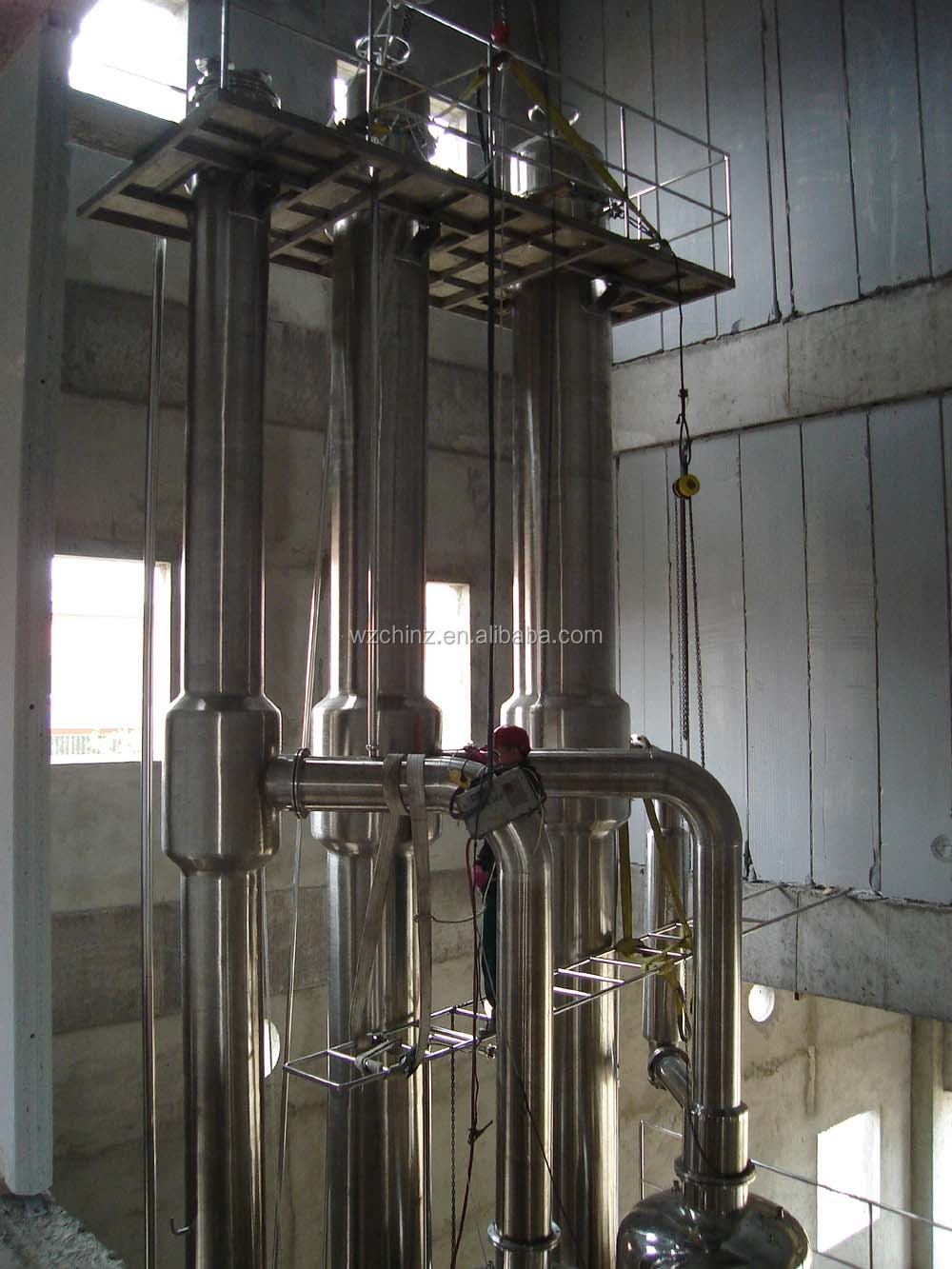 Triple-effect falling film evaporator/ vacuum concentrator for juice / milk / whey