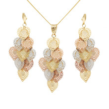 Fashion 3 color real gold plated copper dangle earrings, Heart Shape Gold Jewelry Set