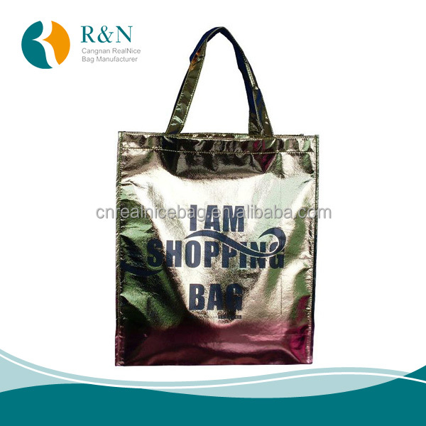 Laser Film laminated non woven pp garment bag lamination tote shopping bag