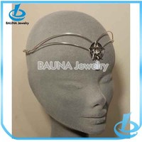 Popular alloy double chain five pointed star link hair accessories thailand