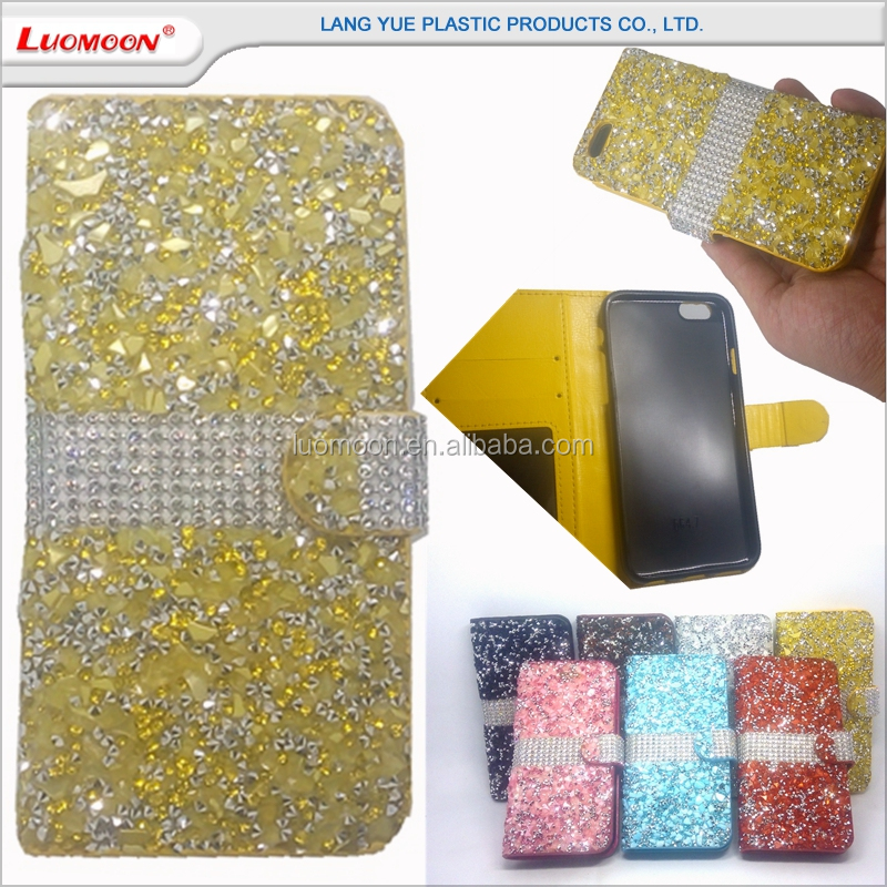 cell phone bag flip diamond bling leather case for samsung galaxy s4 i9500 s5 s6 s7 edge