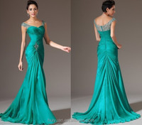 2015 fashion long green chiffon women evening dinner dress