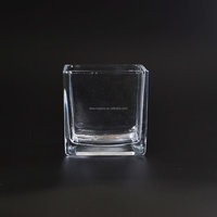 Machine made craft 8cm Square glass vase with polka dot