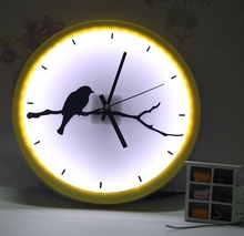 yellow and white quartz analog led wall clock